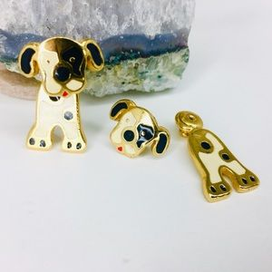 Vintage Dog Puppy Goldtone Enamel Earrings